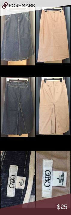 2 modest Cato denim and khaki long maxi skirts Both identical style and size 4! The back has a walking pleat but no slits so very modest! Fits true to size! I would like to sell them together but will separate by request :) Cato Skirts