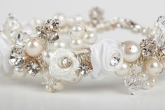 Vintage Flower Floral Cream Ivory Pearl Crystal Rhinestone Statement Romantic Wedding Bridal Bracelet