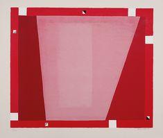 Jerzy Nowosielski 'Abstrakcja w czerwieniach' 1995 / 70x85 cm Agra, Textiles, Symbols, Letters, Red, Pink, Painting, Paper Board, Painting Art