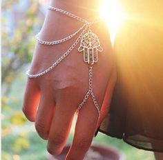 Asymmetric Hamsa Bracelet Finger Ring Hand Harness, £6.99