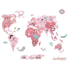 Vinilo infantil de tela Mapamundi Animal rosa