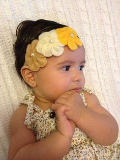 Felt Flower headband-Baby headband-Infant Headband - Toddler Headband -Newborn headband. $8.00, via Etsy.