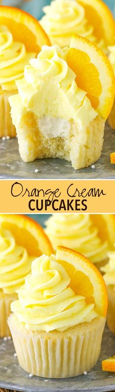 Orange Cream Cupcakes will take you back to your childhood! Made with orange cupcakes, frosting & vanilla cream filling! Such a delicious cupcake recipe! Cupcake Recipes, Baking Recipes, Dessert Recipes, Just Desserts, Delicious Desserts, Yummy Food, Yummy Cupcakes, Orange Cupcakes, Cupcakes Fall