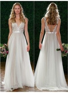 145.19 ihomecoming.com SUPPLIES A-Line Scoop Sheeveless Floor-Length Lace Beach Wedding Dress