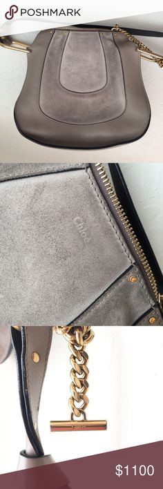 """Authentic Chloe Suede/Leather Crossbody Bag Loving this! 11""""Lx11""""Hx4""""W. has scuff marks and is visibly second hand but leather is in great condition. Chloe Bags Crossbody Bags"""