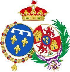 Coat of Arms of Antoine and Luisa Fernanda of Spain, Duke and Duchess of Montpensier
