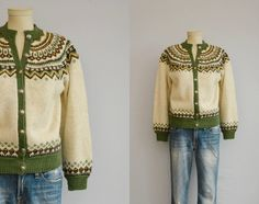Vintage Norwegian Cardigan / 60s Hand Knit Wool Nordic Fair Isle Sweater / Cream…