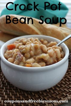 Winter weather always makes us want warm hearty soups for evening meals.  This Crock Pot Bean Soup is a great answer to that craving.  Not only is it very hearty and filling, but it's simple to prepare thanks to the use of your slow cooker.  The best part for us who are working on being frugal is the inexpensive ingredients making this big pot of soup stretch our dollar even farther this month!