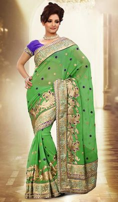 G3 fashions Pastel Green Chiffon Embroidered Designer Partywear Saree  Product Code : G3-LS11892 Price : INR RS 4392