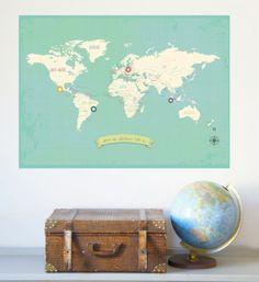 Wereldkaart - My Travels | Inrichting | Gras onder je voeten