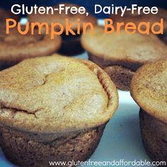 Gluten Free and Affordable: Gluten-Free Dairy-Free Pumpkin Bread Recipe