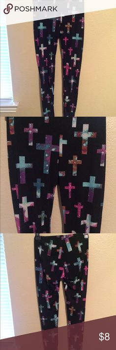 Galaxy cross leggings Black comfy legging with crosses and galaxy print on them!  Again nothing wrong with them, my dancer thighs just don't fit into them. Not super stretchy  Size small/ medium Pants Leggings