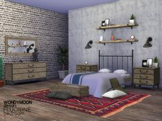The Sims Resource: Fluorine Bedroom by wondymoon • Sims 4 Downloads