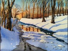 Watercolour painting demonstration of woodland river snowscene with  frozen water and reflections by Scottish Artist and Tutor Allan  McNally. Inspired by Wood Of Cree Nature Reserve in Galloway, SW  Scotland.