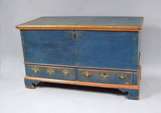 Pennsylvania painted dower chest, late 18th c., with 2 drawers and blanket feet, retaining its original blue surface with salmon moldings, 28.75 H. x 48 W.