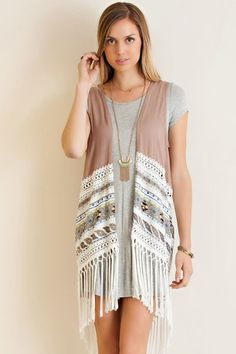 Fringed Vest With Lace Accent
