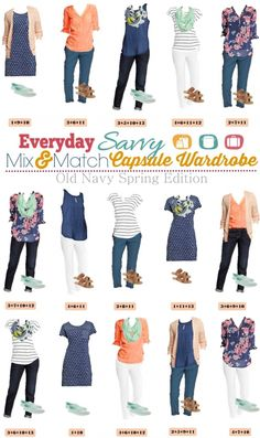 Old Navy Spring Capsule Wardrobe with Mix & Match outfits with pattern and color