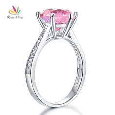 Peacock Star 925 Sterling Silver Wedding Engagement Ring 3 Carat Fancy Pink Created Diamond Jewelry CFR8210