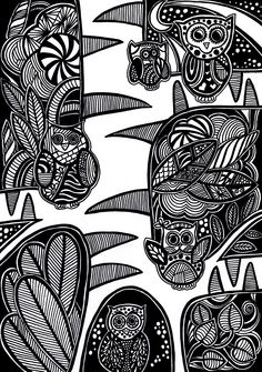 Black and white drawing using pen. #owls #drawing #doodles #doodling #black #white