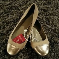 Taupe faux suede flats with silver capped toe NWT Taupe faux suede flats with silver capped toe NWT Merona Shoes Flats & Loafers