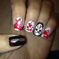 This nod to Jason. | 27 Delightfully Spooky Ideas For Halloween Nail Art
