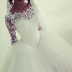 2016 Arabic Long Sleeve Lace Wedding Dress