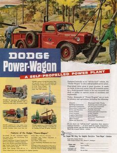 Introduced in the Dodge Power Wagon was a response to G.'s requests for the creation of military-style trucks available to civilians. Check out this unique off-road vehicle in this week's Vintage Monday! Dodge Power Wagon, Cool Trucks, Big Trucks, Small Trucks, Farm Trucks, Station Wagon, Old Dodge Trucks, Lifted Trucks, Dodge Pickup