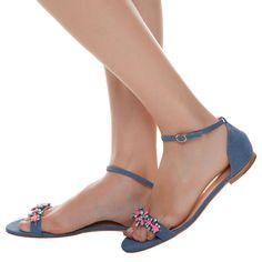 LUIZA BARCELOS - Sandália rasteira tira cristais - azul