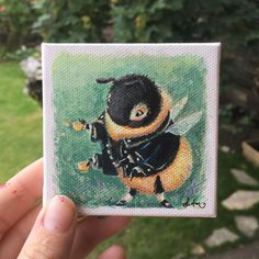 Art by Sydwiki #artgiveaway #bee #bumblebee #painting #tinypaintings #acrylicpainting