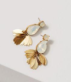 Image of Crystal Leaf Chandelier Earrings