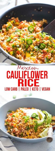 Low Carb Mexican Cauliflower Rice & Cauliflower Fried Rice & How to & Cauliflower Stir fry & Vegan & Paleo & Keto & & Gluten Free The post Low Carb Mexican Cauliflower Rice appeared first on Food Monster. Mexican Food Recipes, Whole Food Recipes, Diet Recipes, Cooking Recipes, Diabetic Recipes, Recipies, Vegan Keto Recipes, Paleo Recipes Low Carb, Low Carb Mexican Food