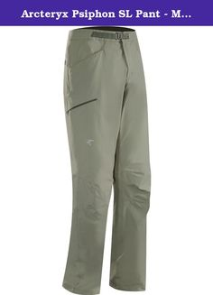 Arcteryx Psiphon SL Pant - Men's Tarn 36. FEATURES of the Arcteryx Men's Psiphon SL Pant Cresta stretch woven nylon fabric provides comfort and mobility, abrasion resistance and air permability for thermal regulation Articulated patterning and gusseted crotch for mobility and freedom Low profile metal hook waist adjuster comfortably fits under harnesses Hand pockets with mesh liners for increased airflow Two rear pockets, one open and one with a security zipper Zippered thigh pocket…