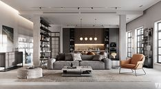 Modern apartment in Berlin on Behance Living Divani, 3d Living Room, Home And Living, Living Room Designs, Living Spaces, Modern Living, Loft Spaces, Home Room Design, Home Interior Design