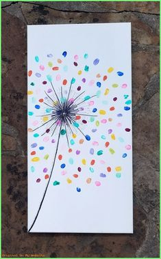 colorful fingerprint art for kids - Mother's day gift idea with a dollar store canvas Kids Crafts, Toddler Crafts, Easter Crafts, Mothers Day Crafts For Kids, Class Art Projects, Craft Projects, Preschool Auction Projects, Art Auction Projects, Collaborative Art Projects
