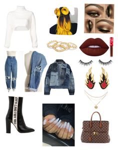 A fashion look from September 2017 featuring woolen sweater, blue jackets and blue jeans. Browse and shop related looks.