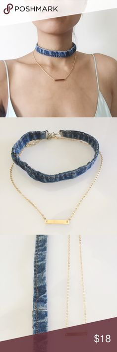 Denim Choker And Gold Plate Chain Necklace Set The set includes: a denim choker and a dainty gold plate chain necklace. You get both! Stylish together but also cute on their own. Price is firm on this one. NWOT Jewelry Necklaces