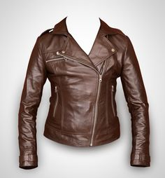 Brown leather jacket, women leather jacket , ladies leather jacket, biker jacket, motorcycle jacket. $99.00, via Etsy.