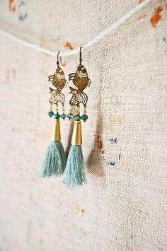 Auria Bohn www.creativepeopleinflorence.wordpress.com/members/artists/ TASSEL EARRINGS -  Vintage Brass Koi Pendant - Silk Tassel Jewelry - Boho Dangle Earrings -  Turquoise and Gold - 20s Inspired