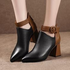 Ankle Martin boots for Autumn and Winter, Pointed Toe zipper high heels warm Snow Boots. High Heel Boots, Heeled Boots, Shoe Boots, Women's Shoes, Frauen In High Heels, Warm Snow Boots, Autumn Boots, Buckle Ankle Boots, Belt Buckle