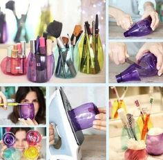 DIY makeup holder, toothbrush holder, or cotton ball holder using plastic bottles and an iron.