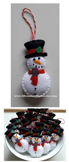 I love this handmade felt snowman with top hat Christmas decoration/ornament/bauble. #christmas #snowman #felt  #ornament #ad