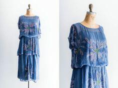 Cobalt beaded flapper dress