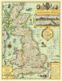 Picturesque map of Great Britain from the National Geographic Society designed to show the country in a style of antique maps, highlighting locations of Shakespeare's plays with British settings, plus a panorama view of London, etc. National Geographic Maps, National Geographic Society, Vintage Maps, Antique Maps, Map Of Britain, Wall Maps, Historical Maps, Illustrations, British History