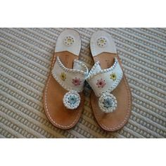 Girls JACK ROGERS Sandals  - White, Pink, Green and Yellow Leather - Size 2