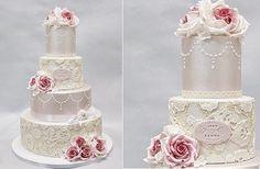 beaded lace wedding cake by Sannas Tartor