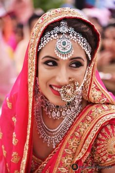 Diamond Matha PAtti , diamond nosering , contrast jewellery , sikh bride, diamond maang tikka , vintage nosering