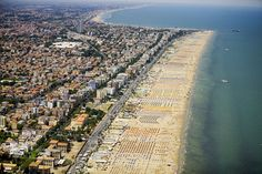 Along the Adriatic Coast - Rimini with miles of beach lounges