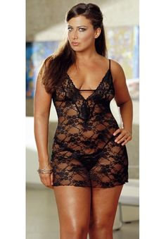 save usd15.00 and 5%off on this plus size babydoll... Plus Size Elegant Stretch Lace Baby Dolls with matching g-string.