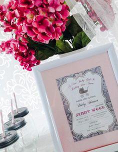 Pink Silhouette Baby Shower - #Babyshower Invitations -  Bella Paris Designs
