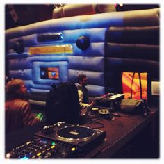 This was an awesome party with a ghetto blaster bouncy castle.